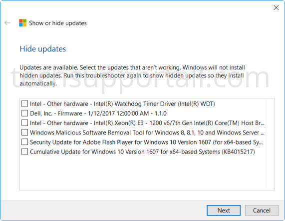 Hide Updates in Windows 10