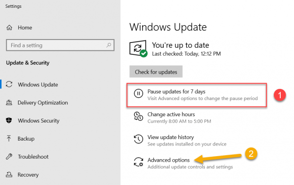 Pause updates in Windows 10