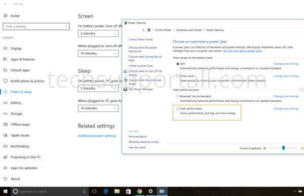 Power settings in Windows 10 set to high performance