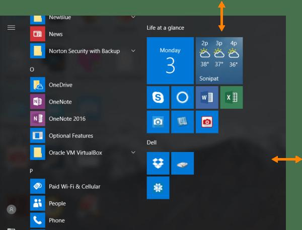 Resize Start Menu in Windows 10