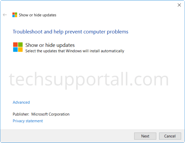 Download Show Hide Update Tool by Microsoft