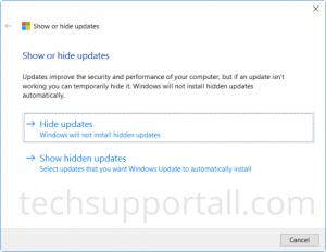 Show Hide Updates in Windows 10