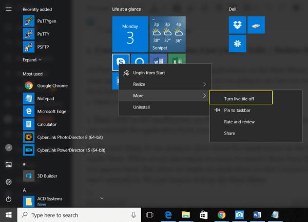 Turn Live tile updates off in Windows 10 Start menu
