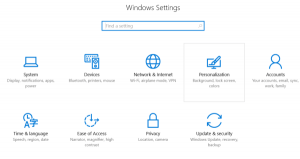 Windows 10 Settings to choose from