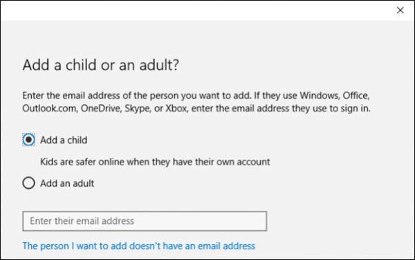 Add Child Account in Windows 10