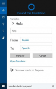 Cortana Translator