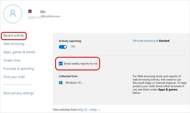 windows 10 parental control - recent activity
