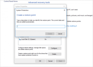 Create Restore Point Manually