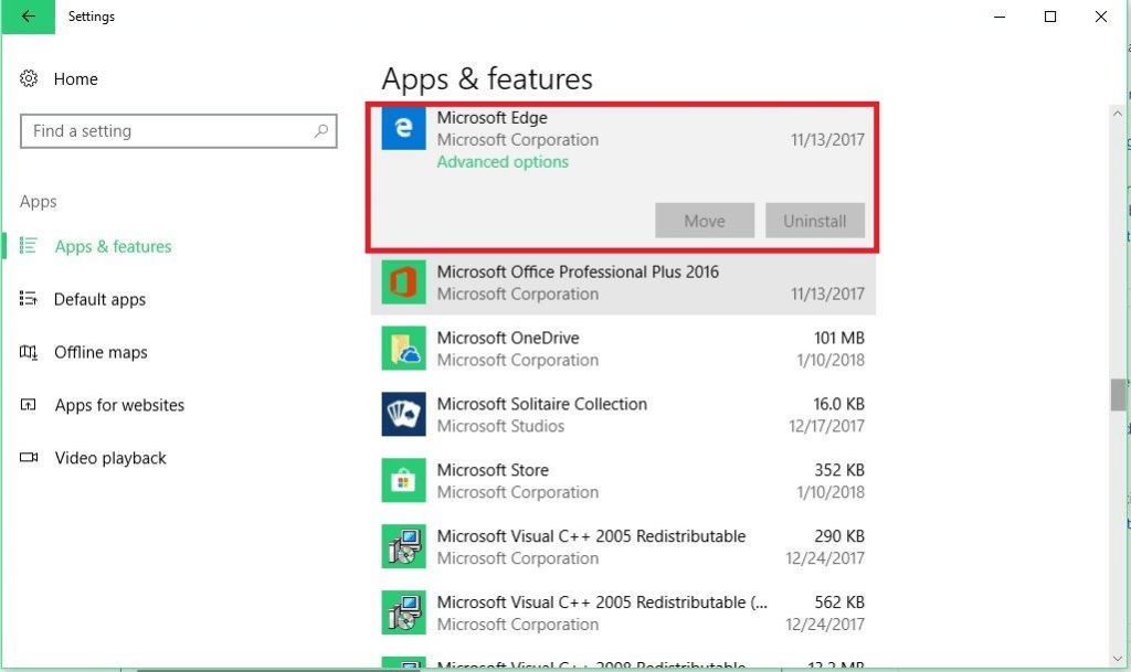 How to reset Edge browser in windows 10 using apps and features
