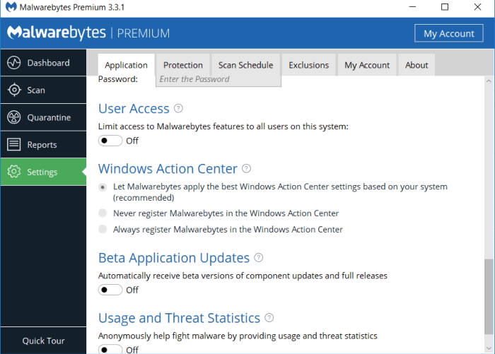 Avoid Malwarebytes conflicting with other Antivirus