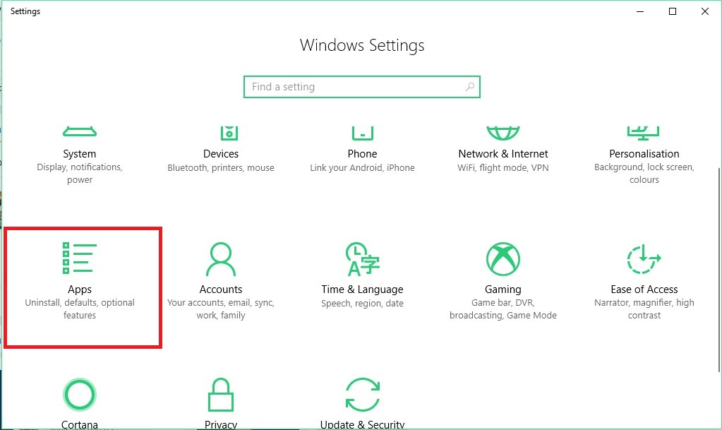 windows 10 settings step 2 find microsoft edge
