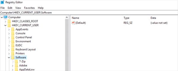Browse Regedit software folder