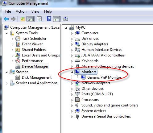 device manager monitor driver