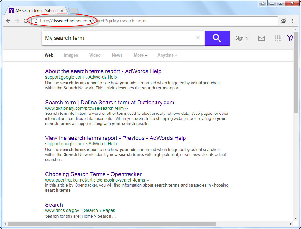 remove dssearchhelper.com redirection