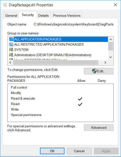 Security tab on Properties windows in Windows 10