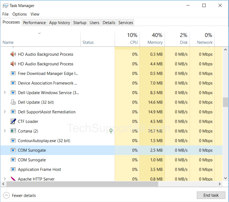 What is Com surrogate process running in task manager under windows 10