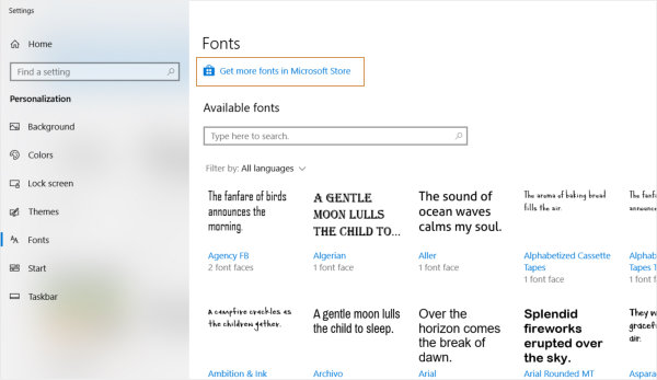 Installing fonts in Windows 10. Fonts Settings