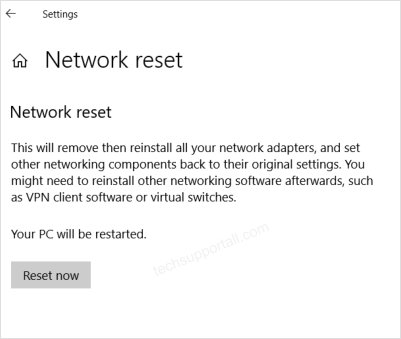Resetting network in windows 10