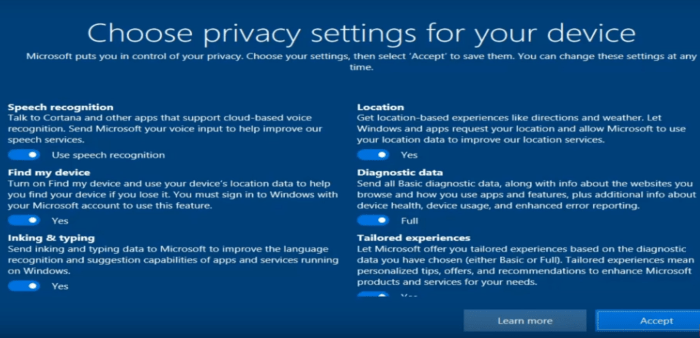 Welcome to windows 10 - Privacy Settings privacy settings