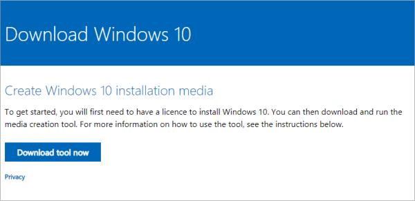 Upgrade Windows - Download media creation tool