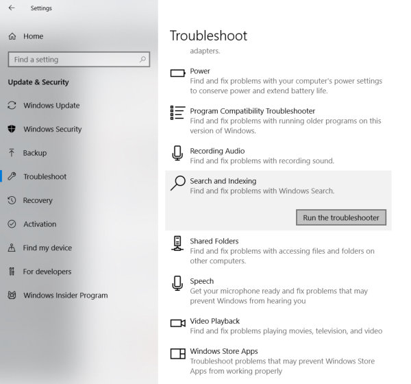 Troubleshoot start menu search in windows 10