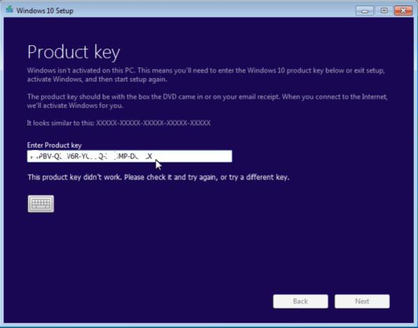 Enter Windows product key
