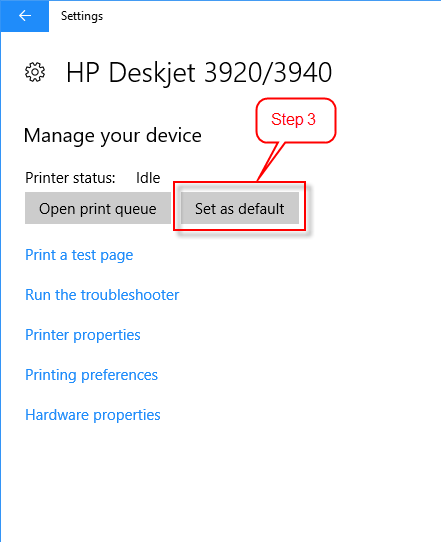 How to set a default printer