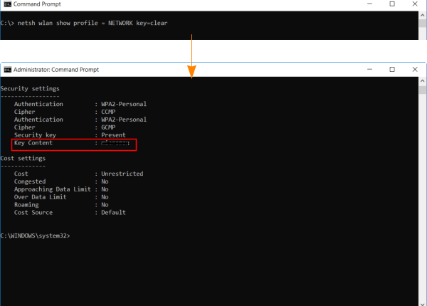 View wifi password using command prompt