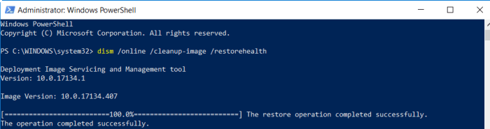 DISM command in windows 10