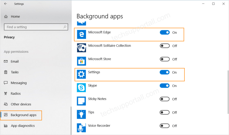 Enable Background apps in Windows 10