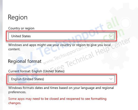change regional language step4