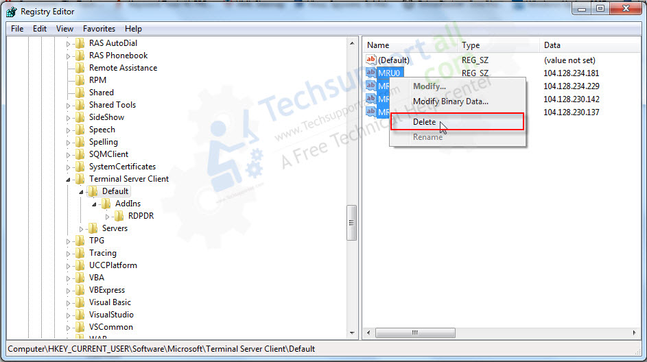remove remote desktop IP entries