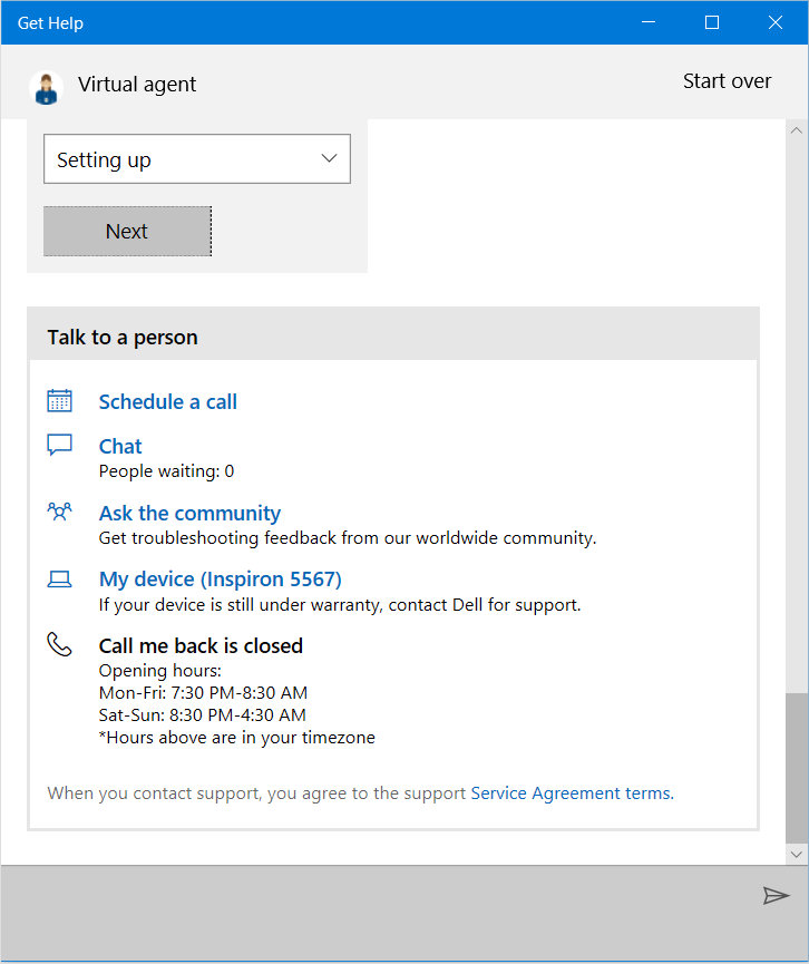 Call back Chat Microsoft support