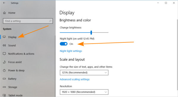 Enable night light in windows 10