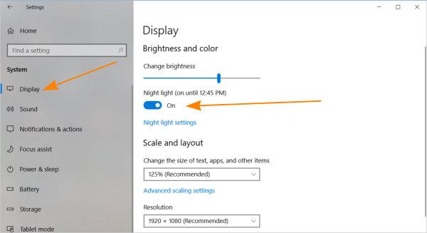 Enable night light in windows 10