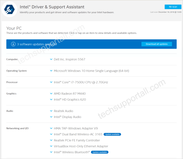 Intel Driver Download and update utility