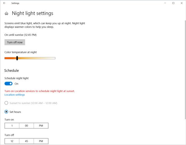 Schedule night light mode
