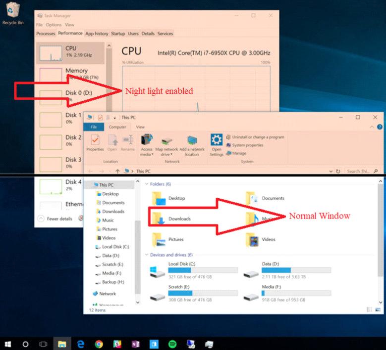 Night mode in windows 10