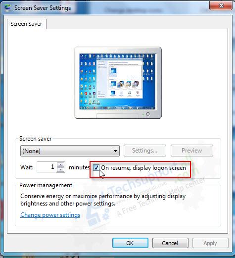 lock screen setting windows 7