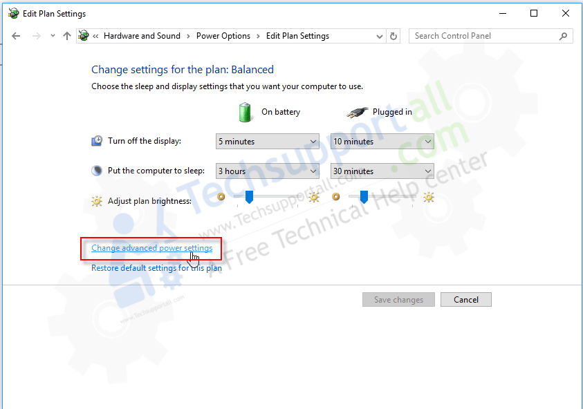 change advance power settings