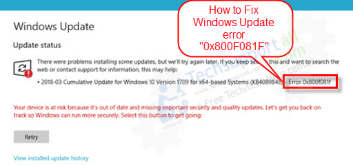 how to fix windows update error 0x800f081f