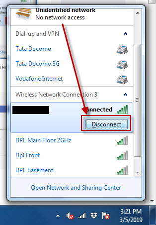 disconnect from network to fix ip conflicting