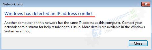 fix ip address conflict network error