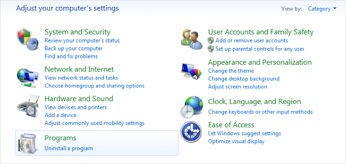 Uninstall software from windows 7
