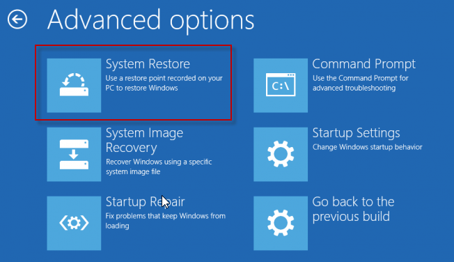 restore win10 - advanced options