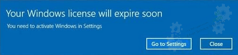 Your windows License will expire soon error message