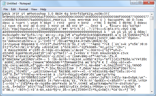 image opening in notepad