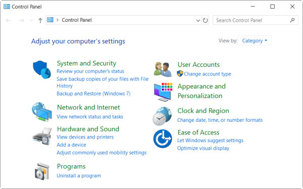 control panel in windows 10