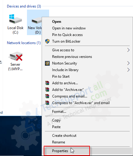 disable compression option on a drive 1