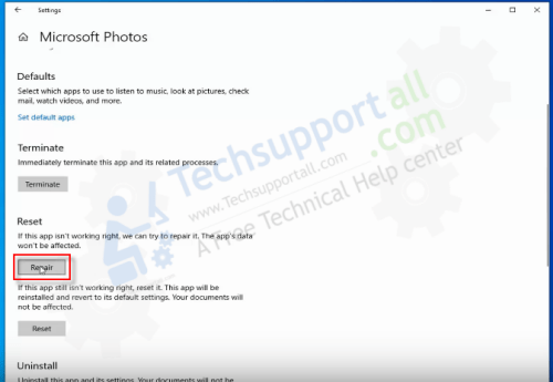 ms photo app repair